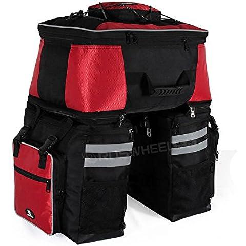 De Roswheel para bicicleta 68L High Capacity trasero Pannier del estante de doble bolsa de Ciclismo Mochila fuerte paquete de viaje con impermeable cubierta de la lluvia roja