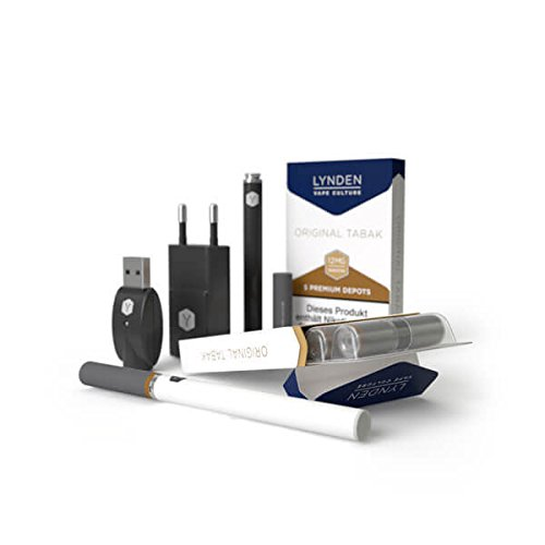 Lynden Premium Starter-Set-E-Zigarette (weiß) inklusive 10 Depots (Depot1-5xTabak-0mg Nikotin, Depot2-5xMix-0mg Nikotin)