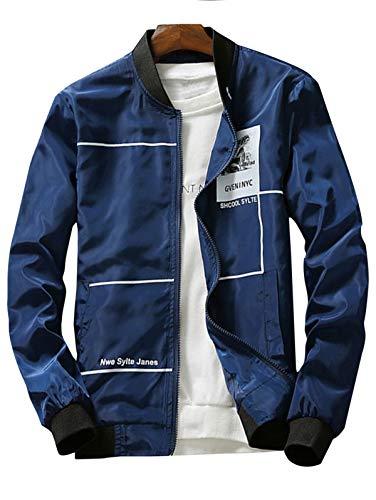 ke Graphic Print Zip Up Leichte Jacke Windjacke Seitentasche Bomberjacke Epaulet Faux Shearling Einreiher Jacke Zum Tragen jederzeit geeignet (Color : CADETBLUE-XL) ()