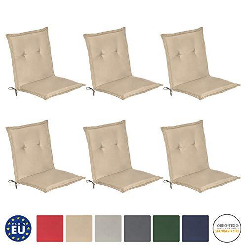 Beautissu loft nl set di 6 cuscini per sedie da giardino e spiaggine - 100x50x6cm - soffice imbottitura e comfort extra - beige