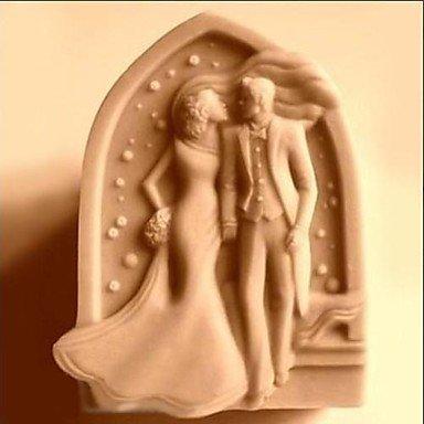 WYFC mariage baiser en forme de gâteau fondant moule en silicone chocolat