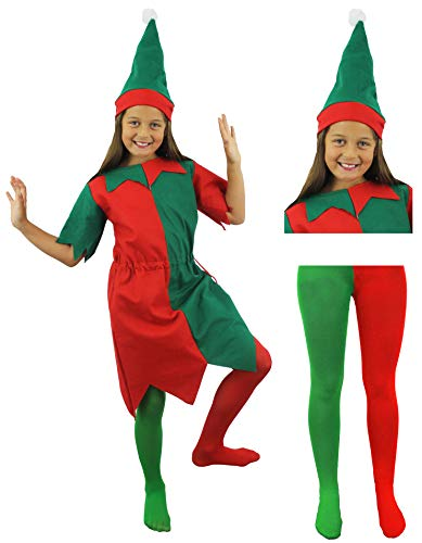 Childs Elf Weihnachten Kostüm Kinder Grün Rot Lange Kleid + Mütze + Strumpfhosen Cheeky Elf Santa 's Little Helper Elfen in Jahren 3-13 Gr. XL, red,green