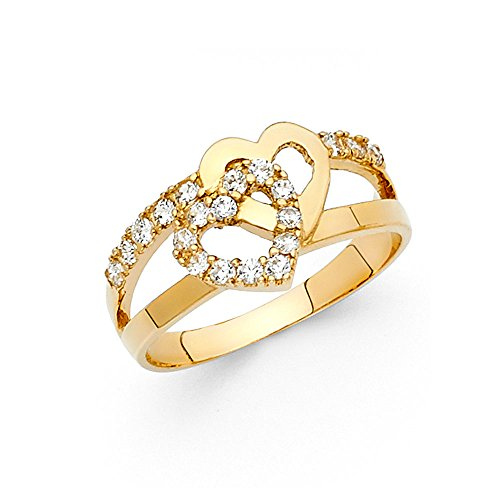 Paradise Jewelers Solid Yellow Gold Cubic Zirconia Two 10mm Women's Ring Intertwined Hearts Ring, Size 9