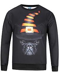 Chaohao@ Sudaderas con Capucha Halloween Otoño Invierno Hombre Digital Dog 3D Print Sweater Manga Larga