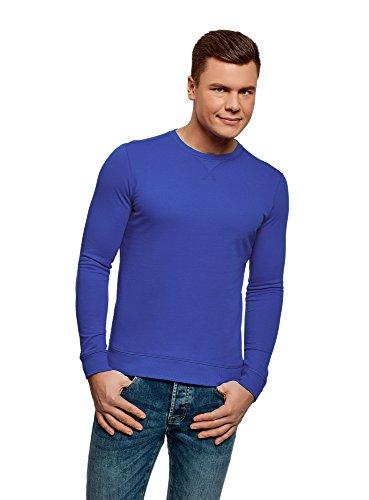 Oodji ultra uomo felpa basic in cotone, blu, it 42 / eu 44 / xs