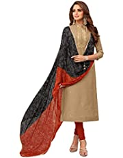 Rajnandini Women's Beige chanderi silk Embroidered Semi-Stitched Salwar Suit Material With Flower Printed Dupatta