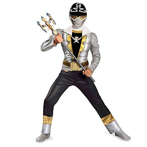 Disguise Saban Super MegaForce Power Rangers Special Ranger Silver Classic Muscle Boys Costume, Medi