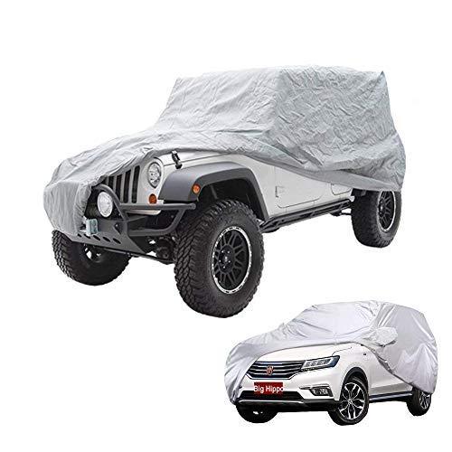 Autoabdeckung Abdeckplane Auto Wasserdicht Auto Abdeckplane für Jeep Wrangler 2 Tür/ SUV Winter & Sommer(469cm*190cm*165cm--Silber)