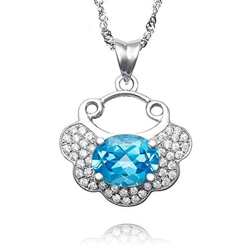 Pendentif/ verrou de sécurité/Bijoux de pierre gemme Topaz naturel/ cubic zirconia collier B
