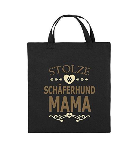Comedy Bags - Stolze Schäferhund Mama - HERZ - Jutebeutel - kurze Henkel - 38x42cm - Farbe: Schwarz / Weiss-Neongrün Schwarz / Hellbraun-Beige