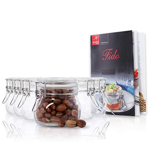 Bormioli Rocco 6er Set Drahtbügelglas FIDO, 500 ml, Einmachglas mit Bügelverschluss, inkl. Rezeptheft