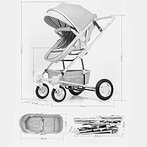 MU Comfortable Pushchairs Folding Stroller, Sitting Reclining Folding Shock Absorber Stroller High Landscape Lightweight Children's Trolley,Pink   8