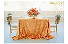 Idea Regalo - ShinyBeauty Tovaglia con paillettes, 125 x 180 cm, tessuto con lustrini, per matrimonio, colore: champagne, Rose Gold Color, 125x180cm Sequin Tablecloth