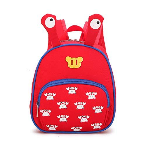 Kleiner Mädchenrucksack, Jungenrucksack für die Grundschule mit Leichter und niedlicher Kinderschultasche mit Tiermotiv für EIN bis DREI Jahre altes Baby,Red 2 Tier-server