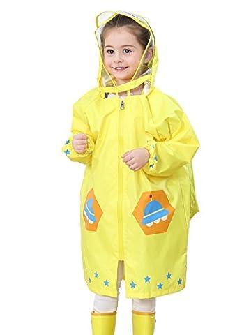 Feoya - Mixte Enfant Cape Poncho de Pluie Mode Raincoat Garçon Fille Coupe-vent Veste avec Capuche 2-4ans Jaune