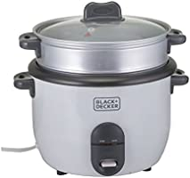 Black+Decker 700W 1.8L 2-in-1 Non-Stick Rice Cooker with Steamer, White - RC1860-B5