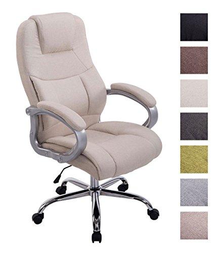 Clp poltrona ufficio in tessuto apoll xl - sedia da scrivania ergonomica i sedia da pc girevole con meccanismo oscillante i poltrona direzionale con braccioli carico max 150 kg crema