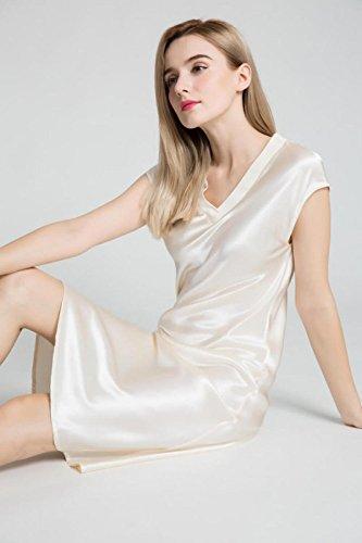 Silkmood Donna Silk Satin pigiama Silk Lingerie Nightdress Camicia da notte Sleepwear V Neck Bianco crema