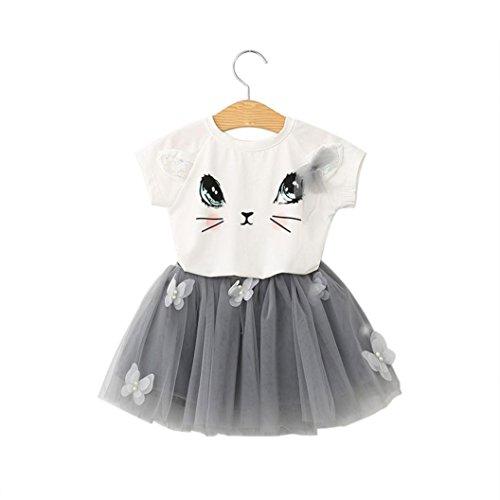 Amlaiworld Mädchen Schön Katzen t-shirt kleid Baby locker Gemütlich blusen mode kinder prinzessin niedlich Schmetterlinge Tütü sommer party kurz röcke dress,2-7 Jahren (3 Jahren, Grau)