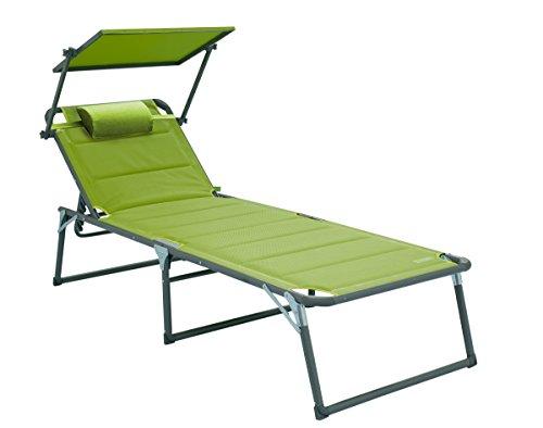 Meerweh Aluminium Gartenliege XXL mit Dach, Dreibeinliege gepolstert mit Quick Dry Foam, grün, 200...