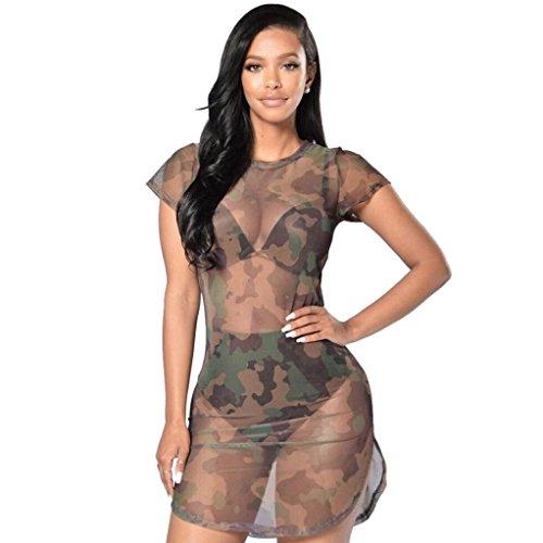 Damen Mesh Minirock Rosennie Frauen Sexy Bodycon Camouflage durchsichtig Dress Abendkleid Ladies Kurzarm Militärische T-Shirt Kleid Mädchen Reizvolle Transparent Versuchung Sommerkleider (M, Tarnung) (Bikini Womens Sexy-versuchung)