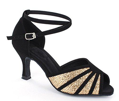 Minitoo Dance Collection 601801Scarpe da ballo, da donna, con tacco basso, per danze caraibiche Black/Gold