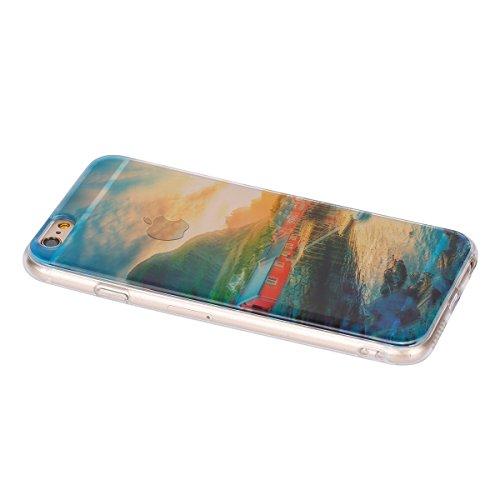 Felfy Hülle für iPhone 6S Plus,iPhone 6S Plus Case Crystal Hülle Klare Ultradünne Silikon Gel Schutzhülle Durchsichtig Muster Kristall Transparent TPU Silikon Schutz Handy Hülle Case Tasche Etui Bumpe Rote Haus Case