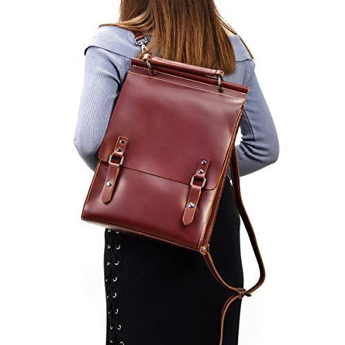 Echtes Leder Rucksack Classic Frauen Vintage iPad Tasche Herren Top Grain Leder Schule Daypack Tasche (Rot)