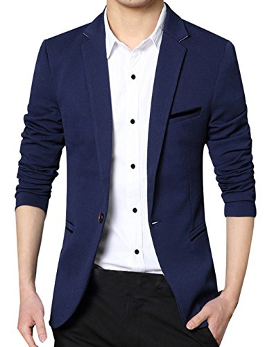 SellerFun Men Boy Slim Fit One Button Casual Outwear Blazer Jacket Coat(Dark Blue Thicken,For Bust 31.8-33.4 Inches)