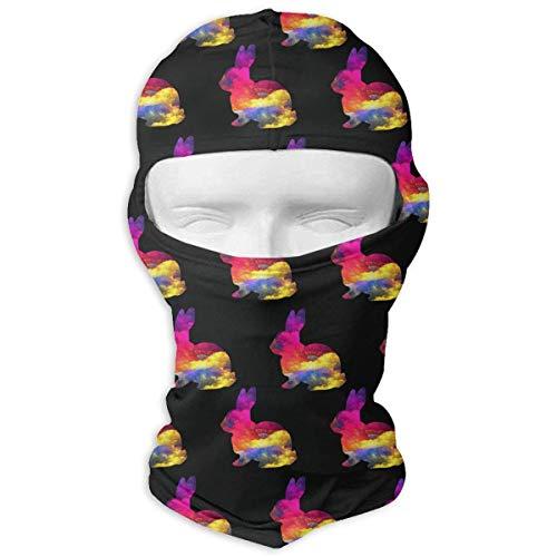Vidmkeo Watercolor Bunny Gifts Balaclava Face Mask Hood for Women Men Extra Warmth Hiking Motorcycling Neck Mask Bunny Hood