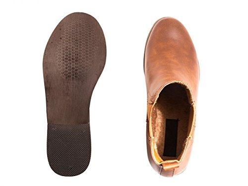 Elara Chelsea Boots | Bequeme Damen Stiefeletten | Lederoptik Blockabsatz Camel Sahara