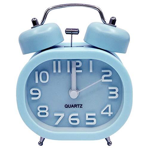 COOJA Vintage Lauter Wecker Batteriebetrieben, 3 Zoll Doppelglockenwecker Analoger Wecker Leise Kein Ticken Silent Alarm Clock für Kinder Jungen -Blau