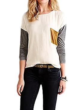 La Mujer Es Elegante De Manga Larga Blusa De Cuello Redondo Color Patchwork Pocket T Shirt
