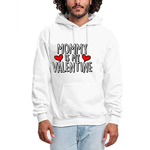 SHENMAHU Men Hooded Sweatshirt Sweet Simple Logo Mommy is My Valentine - Pullover Hoodie, Classic & Comfortable Kapuzenpulli XXL White