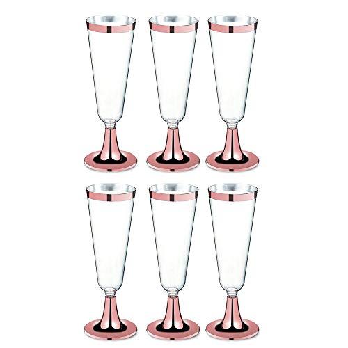 MOGOI Einweg Stemware Rose Gold Rim, Champagner Rotweinglas Flöte Hochzeit Getränkebecher Aus Klarem Kunststoff Toasten Schwere Brille Kunststofftrinker Massencocktail Western Cuisine Cup,5 Unzen