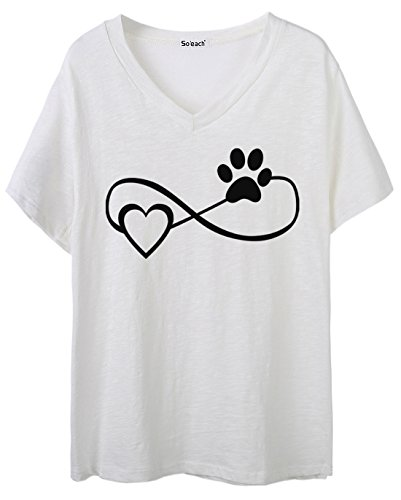 So'each Women's Love Animal Footprints V-Neck Tee T-shirt Ladies Casual Top Weiß