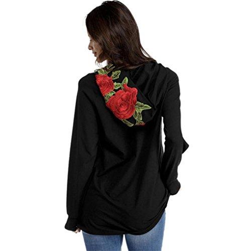 Damen Sweatshirt Longra Frauen Blume gesticktes Langarmmit Shirt mit Kapuze Spitzen Blusen Hemd beiläufiges Sports T-Shirt (S, Black) (Shorts Belted Gestickte)
