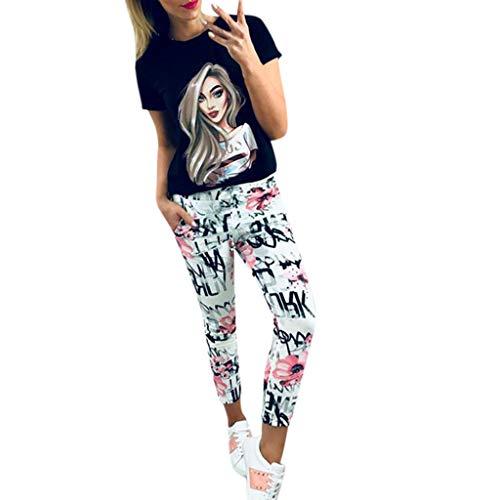 MOTOCO Damen Blumendruck beiläufige Hosen Harem Cuffed Ankle Mid Hosen Sommer Pyjama Baggy Leggings(XL,Weiß)