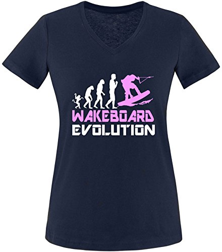 EZYshirt® Wakeboard Evolution Damen V-Neck T-Shirt Navy/Weiss/Rosa