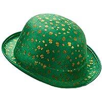 Cappello bombetta verde San Patrizio in velluto con trifogli dorati per  Adulto 15df3475ef0e