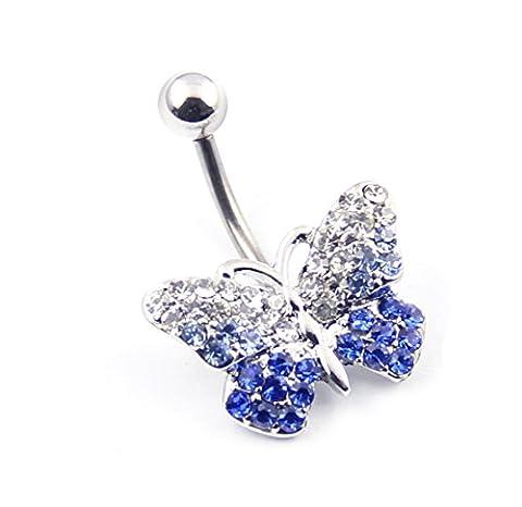 Piercing de nombril à tige et perle strass papillon en acier inoxydable 316L 14g Bleu dégradé transparent