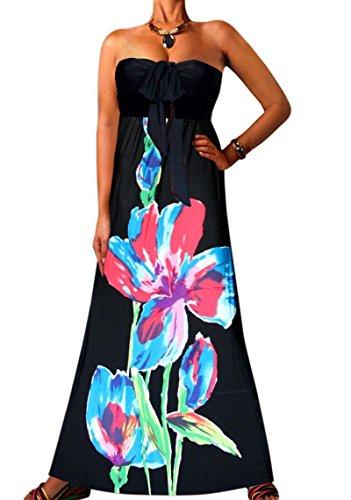 Angela, Femmes Vibrant Clair Bandeau Sans Bretelles Nœud Maxi Vacances Été Robe Imprimée Noir Large Fleur 5