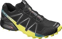 Salomon Herren Trail Running Schuhe, SPEEDCROSS 4, Farbe: schwarz/gelb (Black/Everglade/Sulphur Spring) Größe: EU 43 1/3