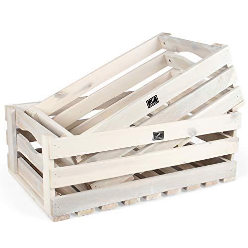 Vanage Holzkiste für Obst und Gemüse | 2er Set | Aufbewahrungskisten aus Akazienholz geölt | Kiste für den Garten, Apfelkiste oder Kartoffelkiste brauchbar in weiß ...