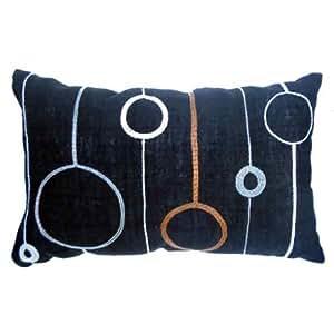 Coussin brodé chanvre et cercle soie noir