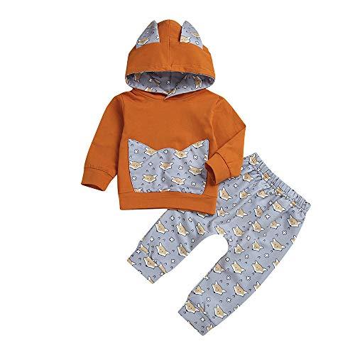 (Hawkimin Baby Mädchen Jungen Cartoon Brief Tops T-Shirt Sweatshirt +Hosen Outfits Set)