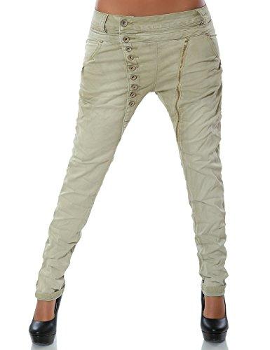 Damen Boyfriend Jeans Hose Reißverschluss Knopfleiste (weitere Farben) No 14145, Farbe:Beige;Größe:38 / M -