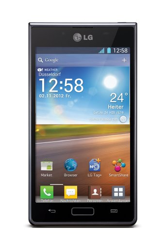 LG P700 Optimus L7 Smartphone (10,9 cm (4,3 Zoll) Touchscreen, 5 Megapixel Kamera, NFC, Android 4.0 OS) schwarz (Wi-fi Direct Headset)