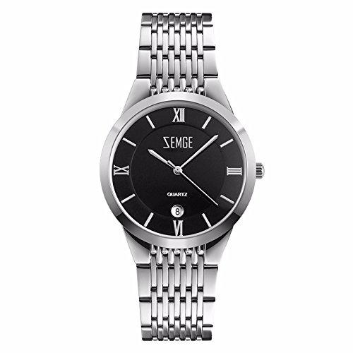 ZEMGE Mujer Reloj de cuarzo analógico FECHA resistente al agua reloj de pulsera unisex Business Casual simple vestido de diseño clásico de color negro DW MK estilo ZC0801
