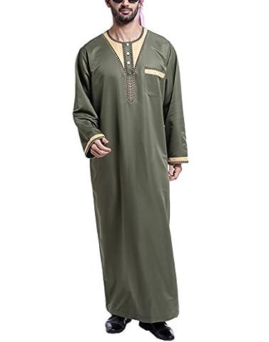 GladThink Männer Arabisch Thobe Mit Lange Ärmel ARMY L